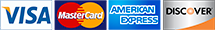 Accept all major credit cards; Visa, Master card, American Express, and Discover